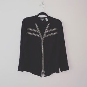 BKE | Black Embroidered Button Front Top | Sz S